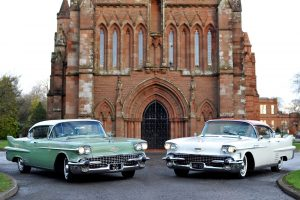 Church weddings in Scotland - vintage Cadillac cars