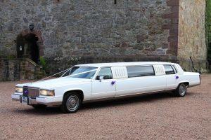 White Classic Cadillac Brougham Limousine - 8 Passenger