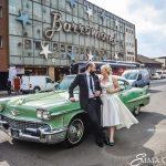 Glasgow wedding in american cadillac