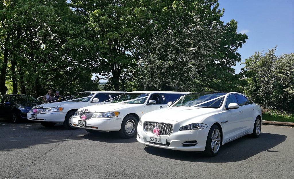 Modern white wedding day transport
