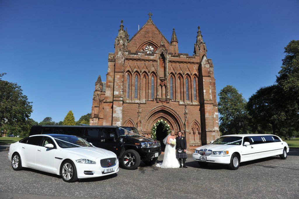 Modern wedding transport at The Crichton Church Dumfries
