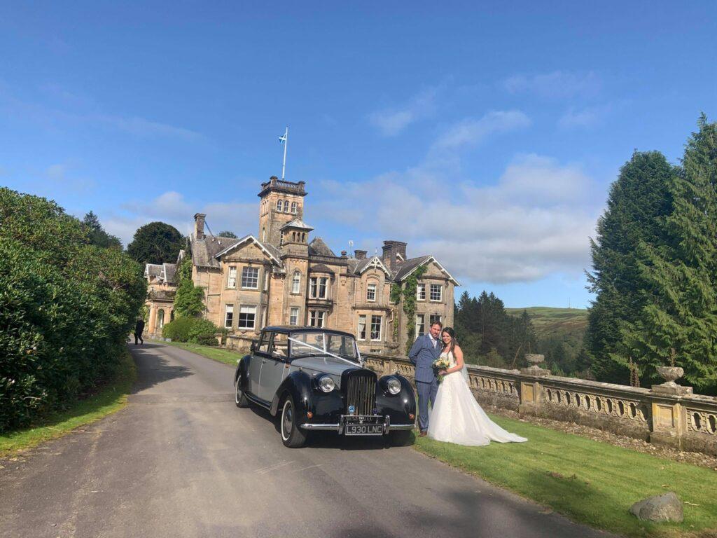 Auchen Castle Wedding with our vintage Royale Windsor